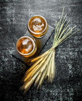 Beer in glasses on a stand and a bunch of spikelets. on black rustic background