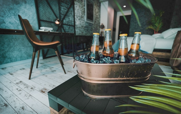 Beer is placed in the office. and living room. 3d render and illustration.