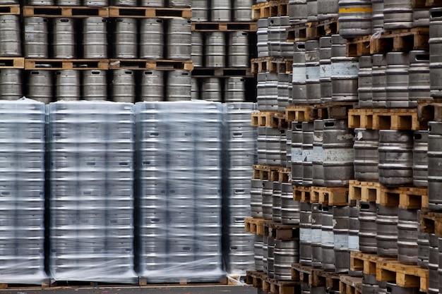 Beer kegs in rows