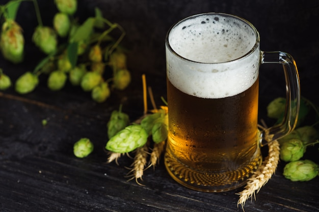Beer mug on dark background with green hops