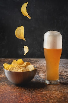 Beer and potato chips