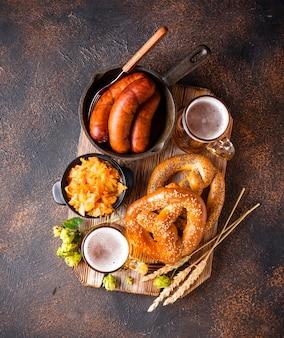 Beer, pretzels and bavarian food