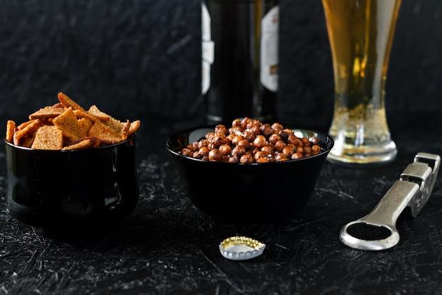 Beer snacks. beer on a dark background.