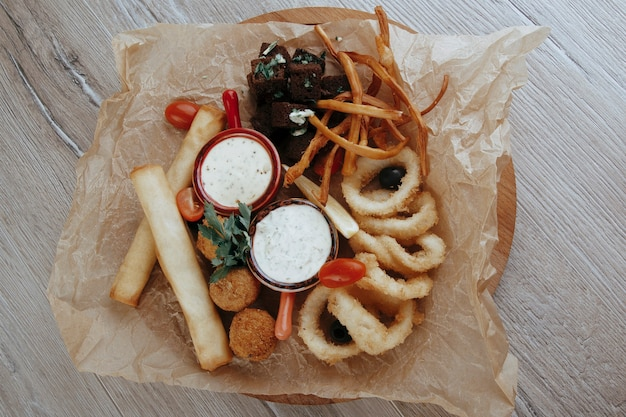 Beer snacks cheese croutons spicy cheese balls sauces onion rings