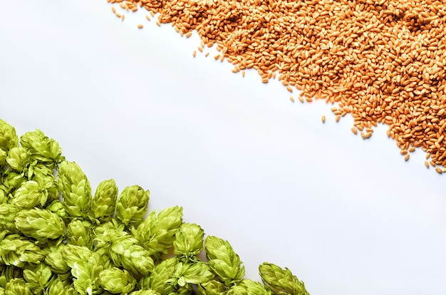 あなたのデザインの準備ができて背景のモックアップに斜めの配置ホップと小麦のビールテンプレート
