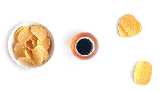 Beer with snacks on a white background. high quality photo