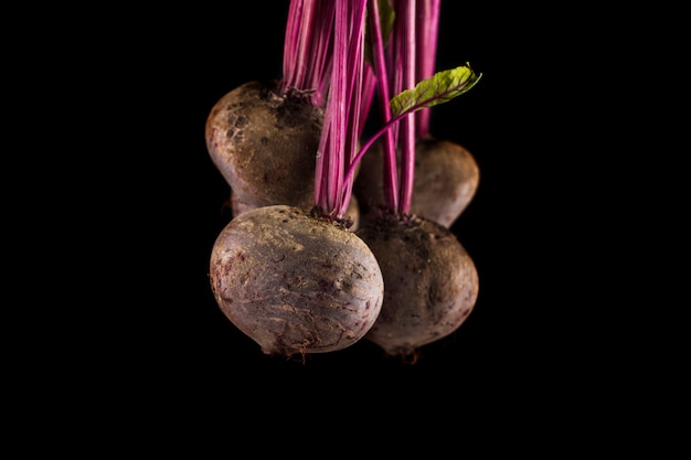 Beetroot on black background