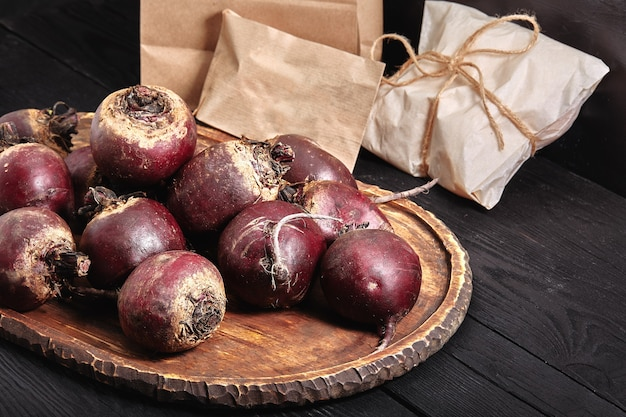 Beetroot dark table, delivery organic products