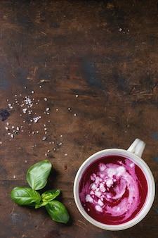 Beetroot gazpacho soup with feta