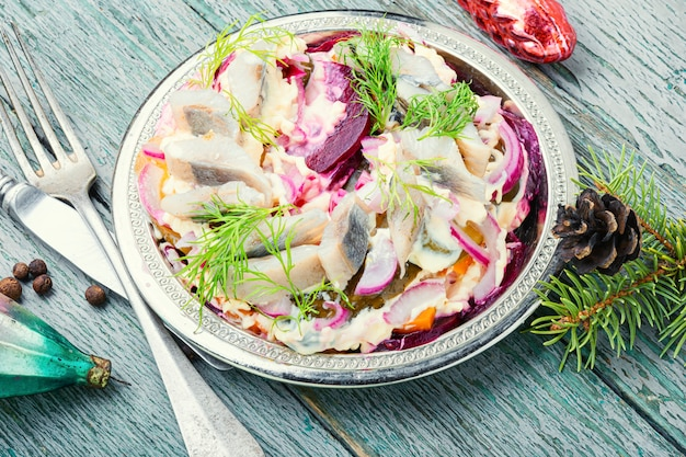 Beetroot and herring salad