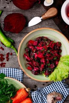Beetroot salad and side sliced vegetables