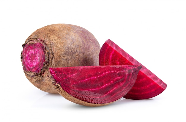 Beetroot vegetables and a half  isolated on white