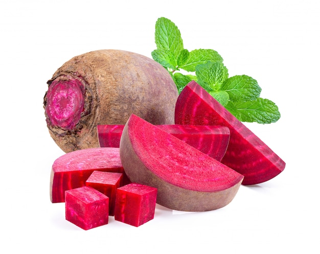 Beetroot vegetables and a half on white wall.