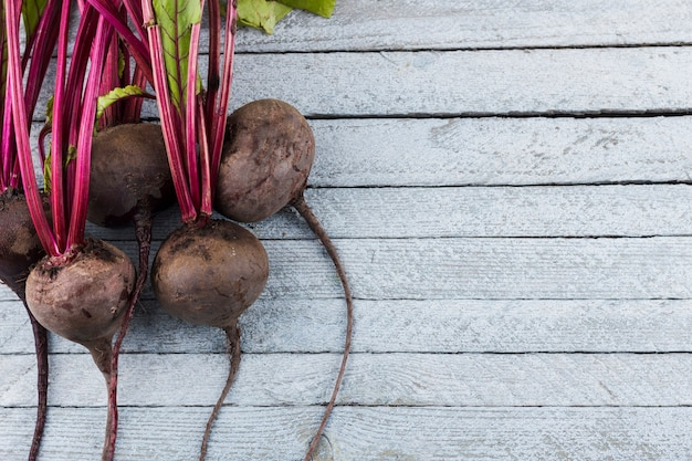 Beetroot on wooden background with copy space