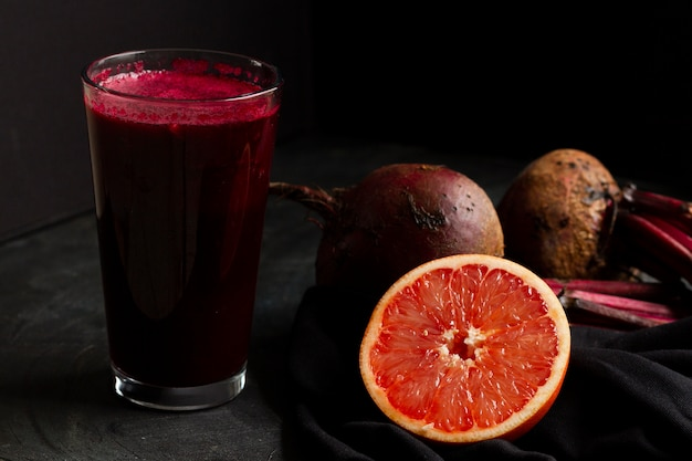 Beets and grapefruit juice in glass