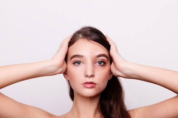 До и после косметической операции. портрет молодой красивой женщины, изолированный на белой стене.
