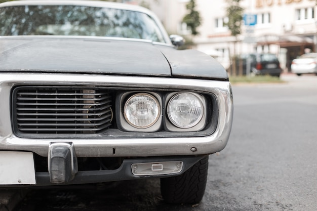 Before retro car with a headlight muscle car