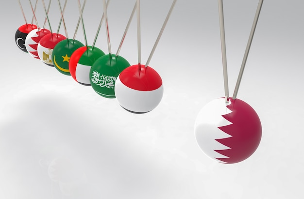 Before some middle east flags pendulum hit qatar sphere ball. bully, banned or boycott con
