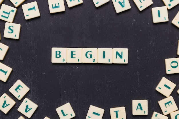 Begin word arranged with scrabble letters