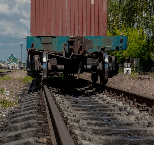 The beginning of a freight train, a freight wagon