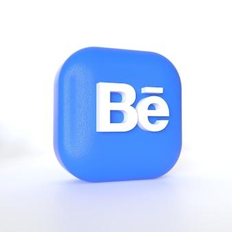 3d 렌더링이 포함 된 behance 애플리케이션 로고