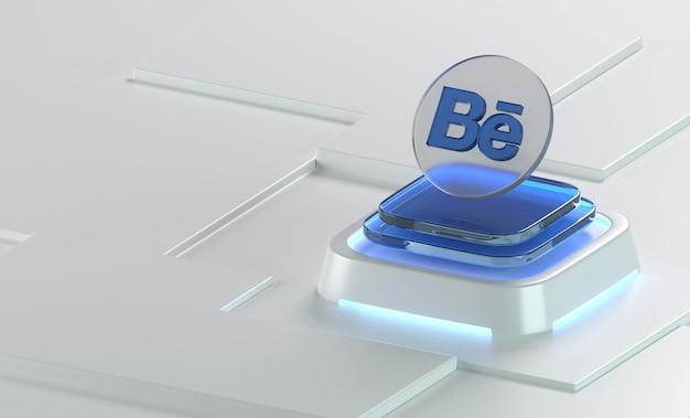 Behance 유리 기하학 모양 3d 아이콘 렌더링
