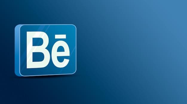 Логотип behance на стеклянной платформе 3d