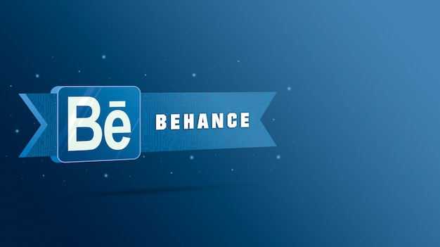 기술 플레이트에 비문이있는 behance 로고 3d