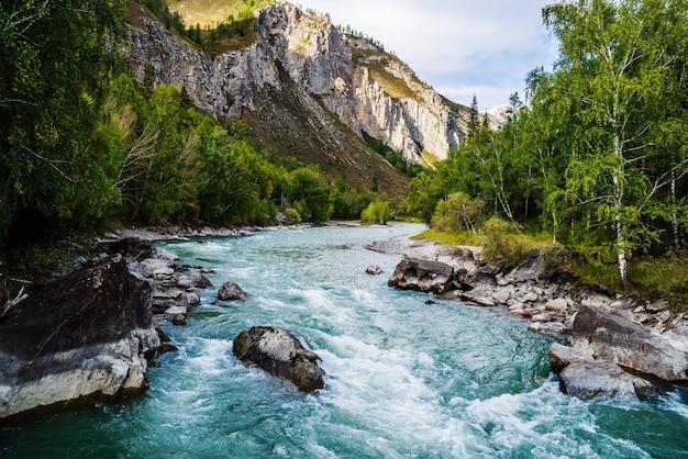 Порог реки бегемот на реке чуя, горный алтай, россия