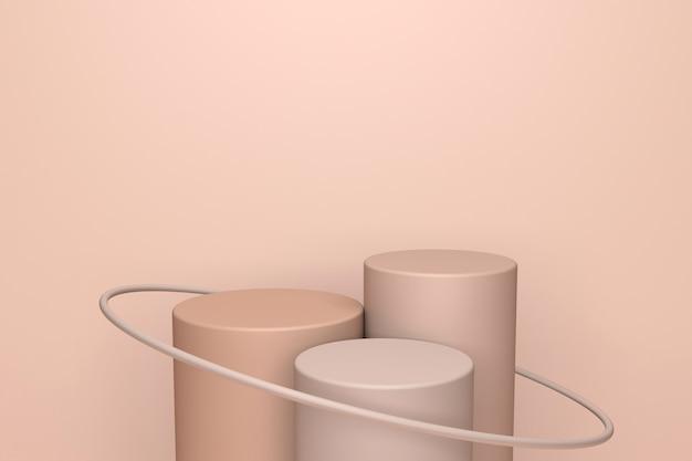 Бежевая абстрактная минимальная сцена с подиумом. 3d-рендеринг геометрической формы для косметического продукта