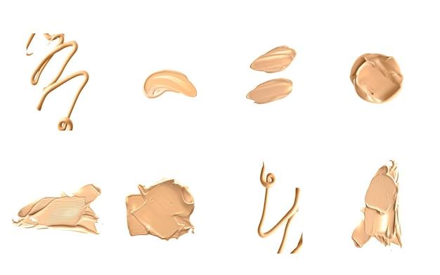 Бежевая косметическая текстура красоты, изолированные на белом фоне, размазанный крем-эмульсия для макияжа, мазок или ...