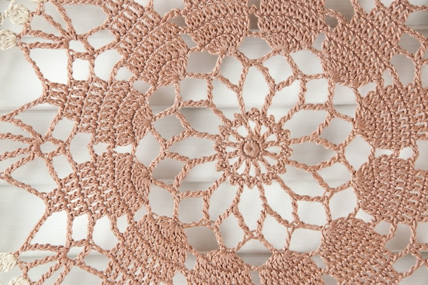Beige brown crochet doily
