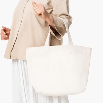 Бежевая сумка-тоут из плотной ткани с дизайнерским пространством
