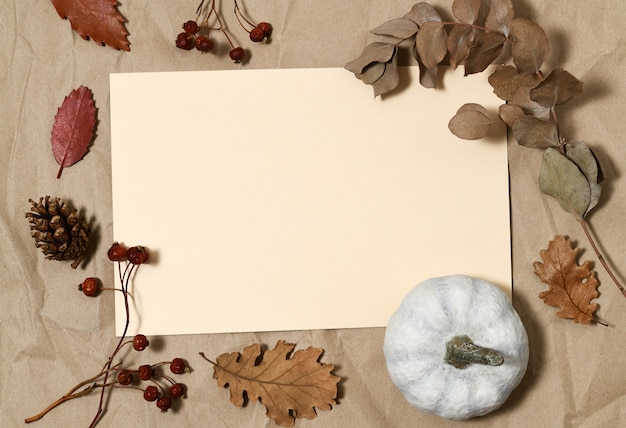 Beige card with white pumpkin, autumnal leaves and berries