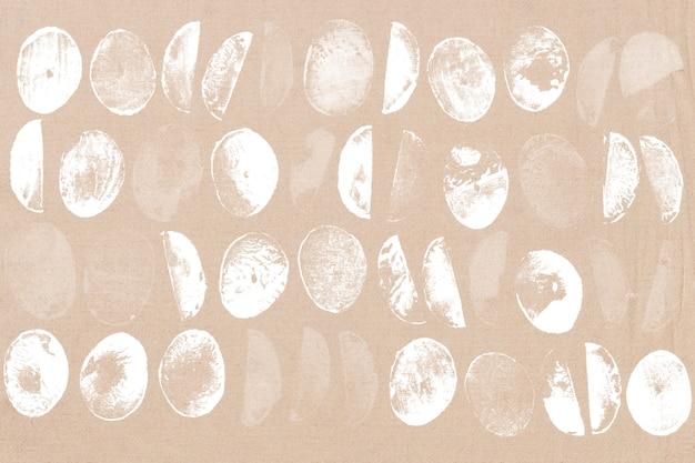 ベージュのサークルパターンの背景ブロックプリント