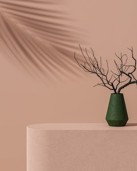 Beige concrete background with green pot and tree branch tropical tree shadow product placement 3d render