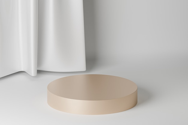 Beige cylinder podium or pedestal for products or advertising near to white curtains. 3d rendering.