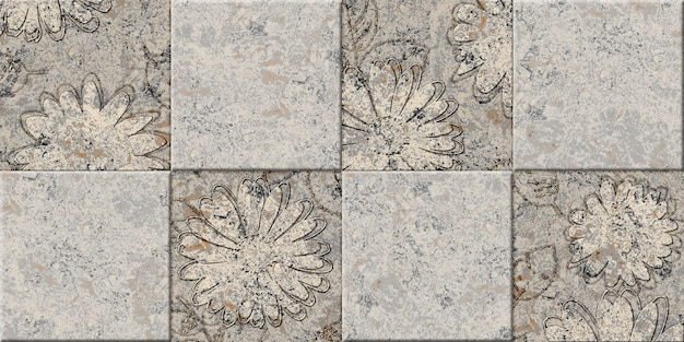 Beige decorative stone tiles with natural stone texture and floral pattern. element for interior design. background texture