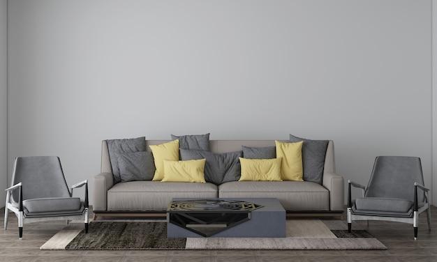 ベージュの空の壁のリビングルームにはソファと装飾があり、インテリアのモックアップ、3dレンダリング