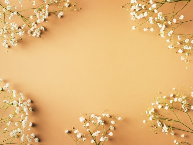 Beige fashion, flowers flat lay background