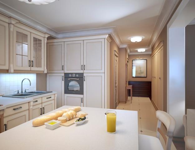 Бежевая кухня в стиле арт-деко с традиционной кухонной мебелью.