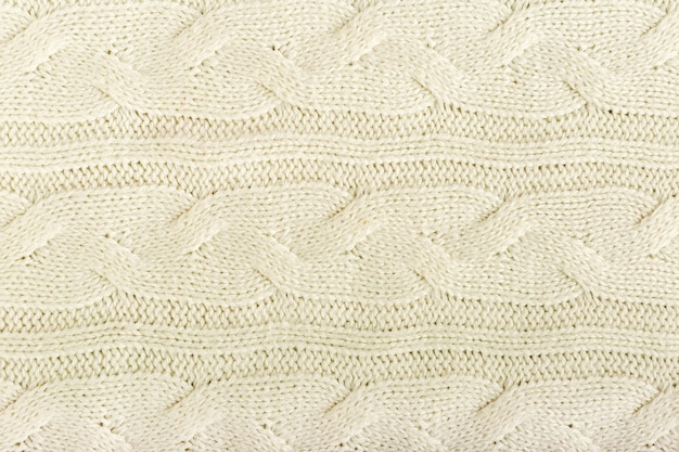 Beige knitted fabric wool texture for background.