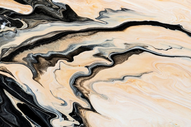Beige liquid marble background abstract flowing texture experimental art