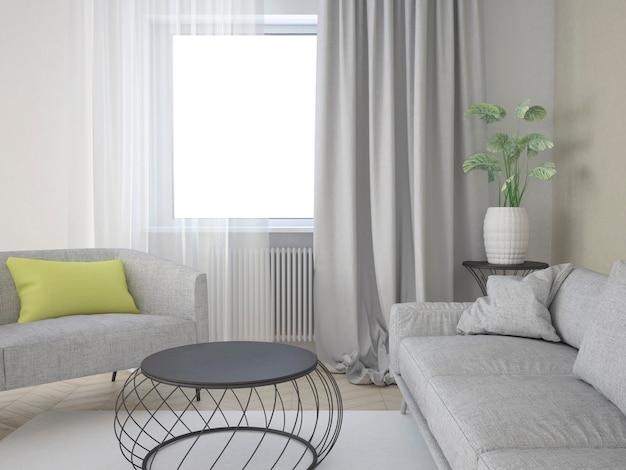 Бежевая гостиная с диваном, журнальным столиком и большими постерами