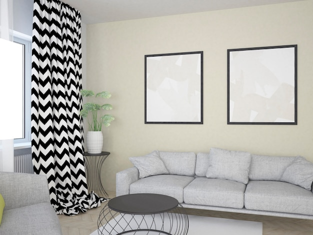 Beige living room with sofa coffee table and big posters