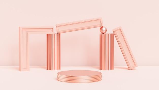 파스텔 복숭아 색 배경, 3d 렌더에 제품 표시 또는 광고를 위한 베이지색 고급 연단 또는 받침대