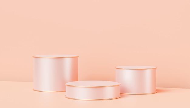 파스텔 복숭아 색 배경, 3d 렌더링에 제품 또는 광고를 위한 베이지색 고급 연단 또는 받침대