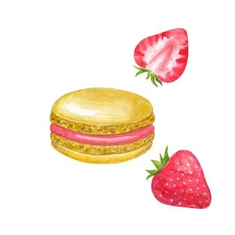 빨간색 충전물과 딸기가 들어간 베이지 마카롱. 손으로 그린 수채화 그림. 흰 벽에 고립.