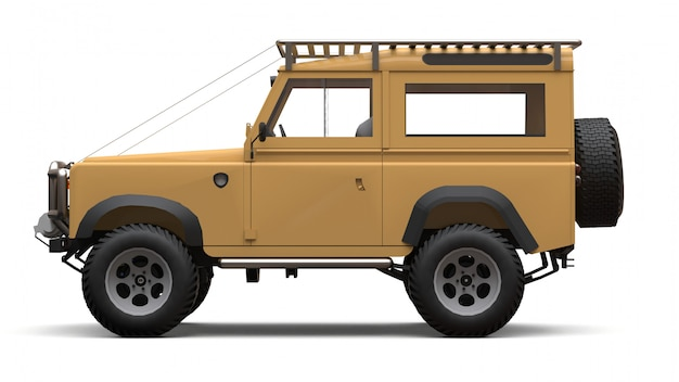 Beige old small suv tuned for difficult routes and expeditions