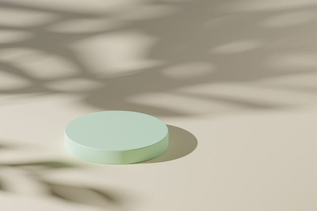 Бежевый пастельный цилиндрический подиум или постамент для продуктов или рекламы с тенью листьев монстеры. 3d-рендеринг в минималистском стиле.